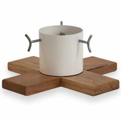 8.8ft Christmas Tree Stand Hip Wood Metal Rustic Scandinavian Contemporary White