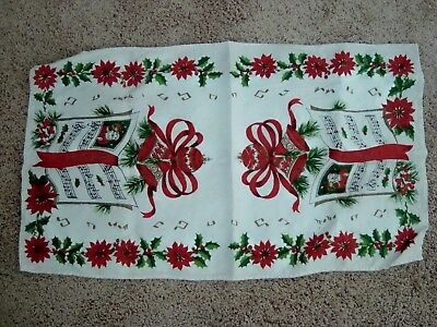 Vintage Christmas Linen Dish Towel - Poincetta's, Christmas Bells, Musical Notes