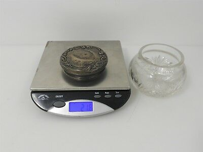 Vintage Cut Glass Cannister with Sterling Silver Lid: 21.8g