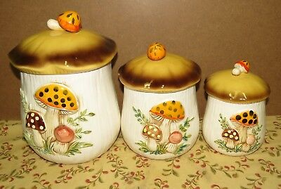 Sears 1978 Merry Mushroom Canisters/ Set of 3 -  Pet Rescue Fundraiser