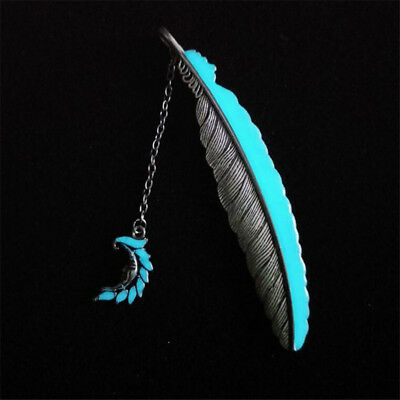 Creative Silver Color Moon Shape Feather Luminous Bookmark Child Book Marker S
