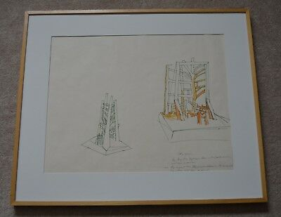 "1976  Richard Hunt African American Artist Drawing Hybrid Marker 18"" X 23 Framed"