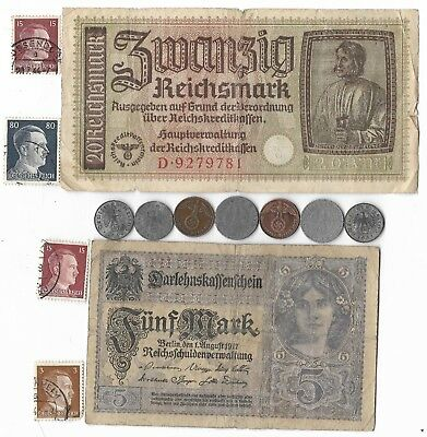 Rare Old Orig WWI WWII Germany War Note Coin Stamp WW2 Vintage Collection Lot