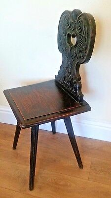 Antique, Late Victorian Carved Oak Hall Side Chair - Hewetson, Milner & Thexton