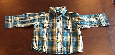 Debenhams Ted Baker Baby Checked Shirt Blue Green White 0-3 Months New No Tags