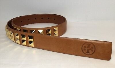 """TORY BURCH Branded Logo Gold Studded Brown Leather Belt 33""""-37"""" Push Clasp RARE"""
