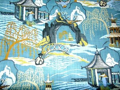Asian Chinoiserie Patterned Fabric - 1 1/3 Yards X 55 Inches