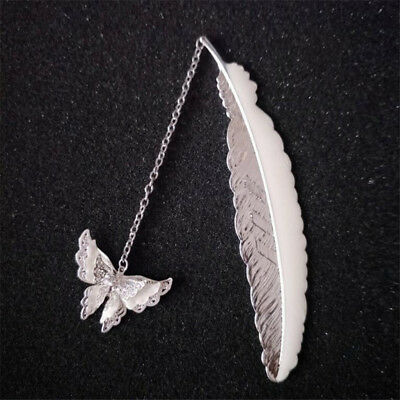 Silver Noctilucent Butterfly Shape Feather File Bookmark Book Child Stationery S