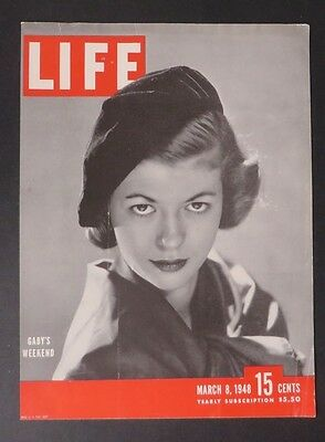 Original Life Magazine COVER ONLY Gaby's Weekend March 8 1948