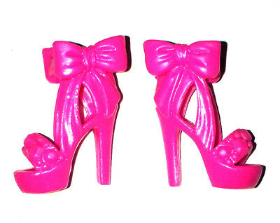 New Barbie Doll Shoes - Pink Ankle Bow High Heels Peep Toe Shoes Sandals