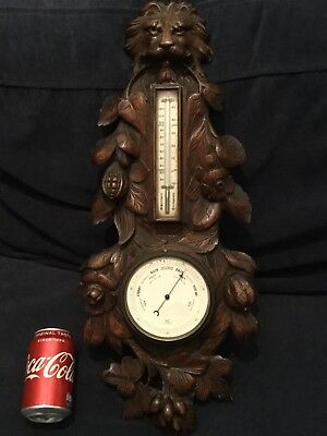 Antique Carved Lions Face Black Forest Barometer Very Rare Great Carving