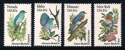 Bluebird - State Birds - Set Of 4 U.s. Postage Stamps - Mint Condition