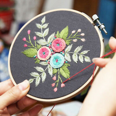 3 Styles of Embroidery Starter Kit with Pattern Hoop Threads Tool Kit (Flower)