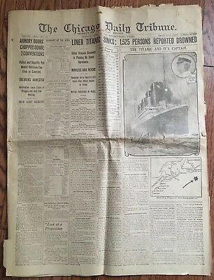 Titanic Sinks Chicago Daily Tribune Newspaper April 16th 1912