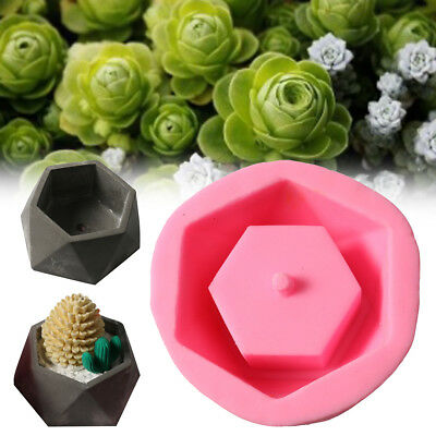 Handmade Geometric Hexagon Silicone Flower Pot Mold Succulent Planter Vase Craft