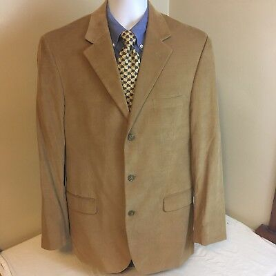 Andrew Fezza Mens 3 Button Micro Corduroy Blazer Brown 42L 42 L Free Shipping!