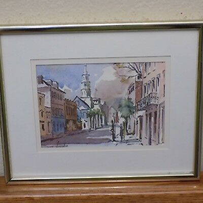 "Metal Frame with Glass Print Broad Street SIGNED Virginia Fouche 10.5"" x 8.5"""