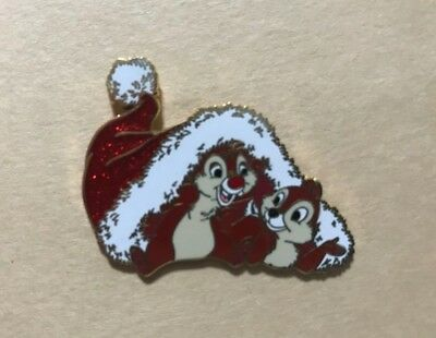 Disney Pin Glitter Santa Hat Chip & Dale