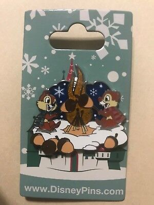 Disney Pin Chip and Dale Roasting Acorns Stained Glass