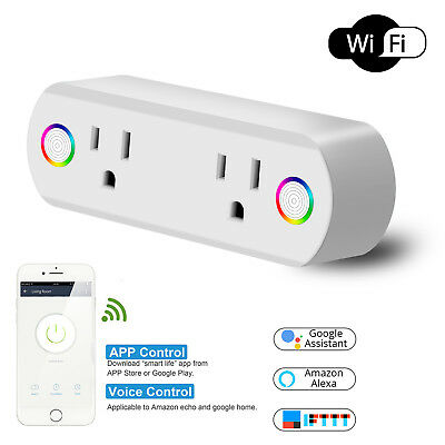 WiFi Smart Plug Socket Dual Outlet Remote Control For Alexa/ Google Home/ IFTTT