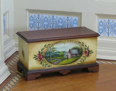 Therese Bahl Hand Painted Blanket Chest - Artisan Dollhouse Miniature (TB-415)