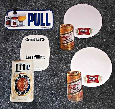 Lot of 4 70's-80's Miller High Life & Miller Lite Beer Adhesive Cooler Stickers