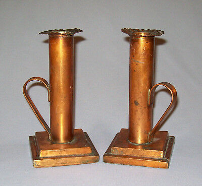 Old Antique Vtg Ca 1920s Pair Arts and Crafts Hand Made Candle Sticks Folk Art