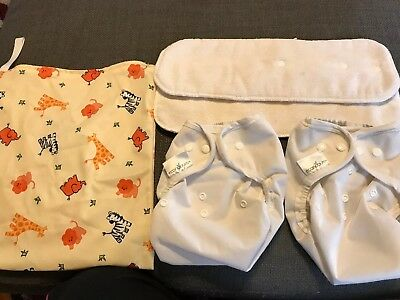 Econobum 2 Cloth Diaper Covers Reusable White - One Size + Inserts & Bag