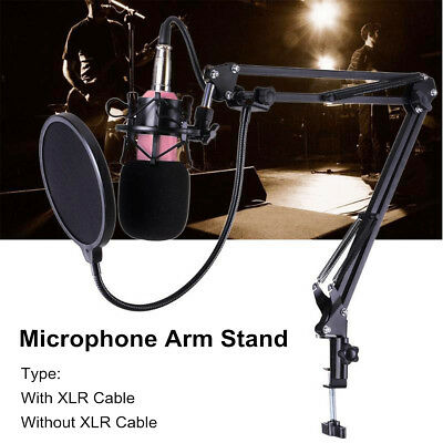Microphone Suspension Extension Arm Stand Broadcast Holder Bracket + Filter