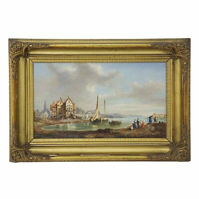 19th Century Antique Landscape Oil Painting on Canvas, Seaside Village w/ Boats