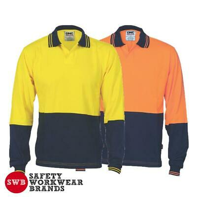 DNC Workwear Mens Hi Vis Cool Cotton Jersey Food Industry Polo Shirt L/S 3906
