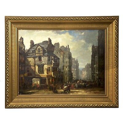 "Scottish Antique Oil Painting of ""John Knox House"" on Royal Mile, 19th Century"