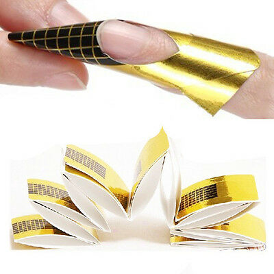 20PCS Golden Nail Art Tips Extension Forms Guide French DIY Tool Acrylic UV Gel