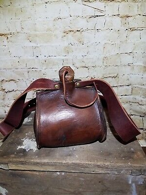 Vintage Handmade Leather Water Carrier/canteen: Stout And One Of A Kind !!