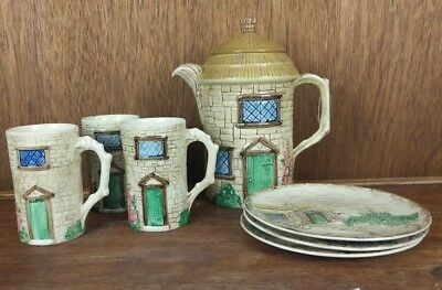 SylvaC Sylva Ceramics Croft Cottage Lot of 3 Cups 3 Plates and Pitcher with Lid