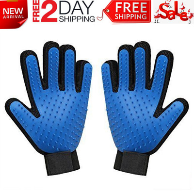 Pet Grooming Gloves Dog Cat Hair Removal Brush Massage Petting Bathing 1 Pair