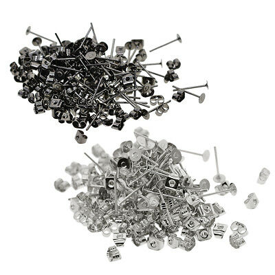 400Packs 4mm Blank Flat Pad Base Earring Posts with Back DIY Jewelry Making