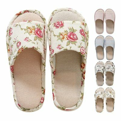 Indoor Anti-slip Linen Floral Slippers Home Summer Open Toe Flat Shoes Sandals
