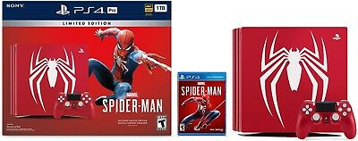 NEW Sony PlayStation 4 Pro 1TB Limited Edition Spider-Man Console PS4 Bundle
