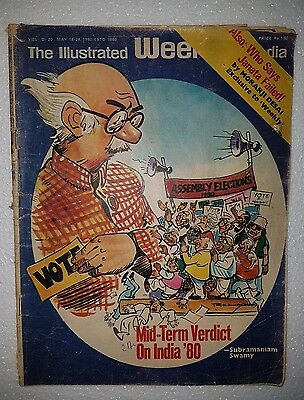Vtg Illustrated Weekly Of India 1980 Magazine Cover Image cartoonist R.K.LAXMAN