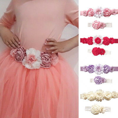 BL_ Flower Girl Faux Pearl Sash Headband Wedding Bridesmaid Dress Waist Belt Coo