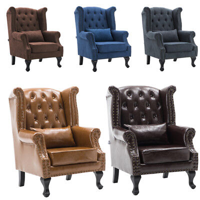 Chesterfield High Wing Backed Queen Anne Fireside Armchair Fabric/Leather Chair