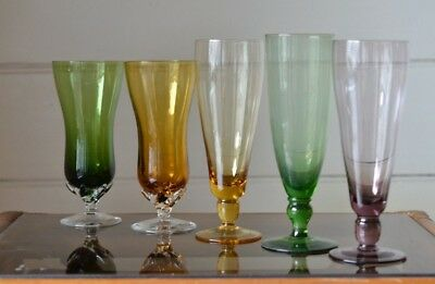Vintage 5 x  coloured drinking alcohol glasses