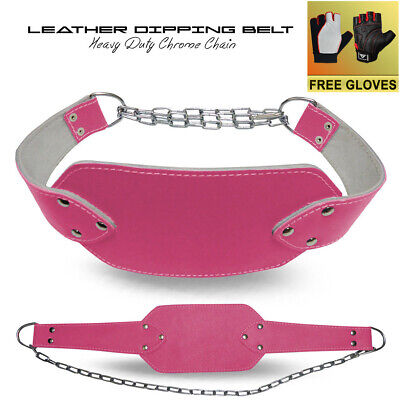Ladies Leather Dipping Belt Weight Lifting Heavy Duty Chain Gym Exercise - Pink