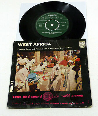 "AFRO DRUMS Ritual Music ETHNIC - Babatunde Olatunji ""West Africa"" 7"" EP Philips"