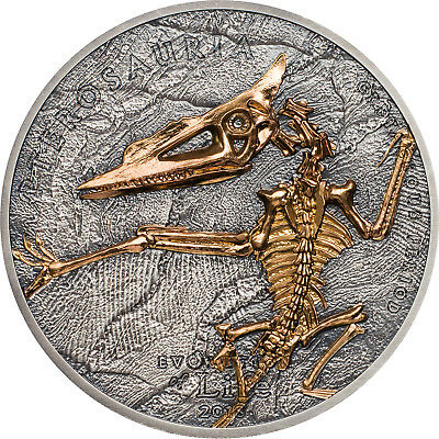 1 Ounce Silver Antique Finish Pterosaur Evolution of Life Mongolei 2018 silber