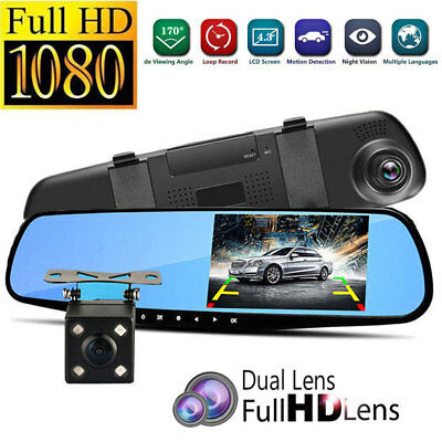 HD 1080P Dual Lens Car Auto DVR Mirror Dash Cam Recorder+Rear View Camera Kit