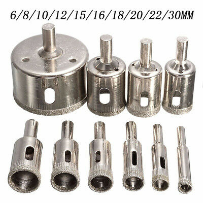 10pcs/Set 6mm-30mm Diamond Tool Drill Bit Hole Saw Set For Glass Ceramic Marble