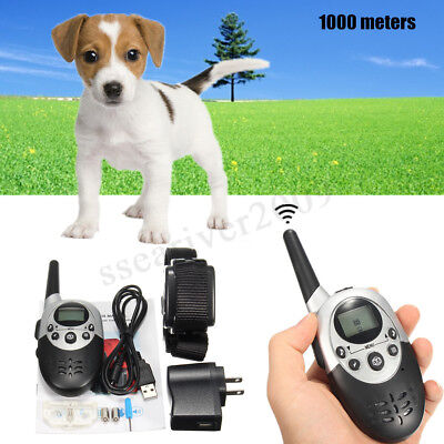 1100 Yard Waterproof Electric Dog Shock Collar With Remote For Pet Training New