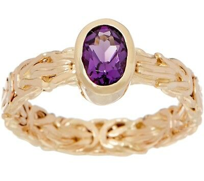 Natural Oval Amethyst Gemstone Byzantine Band Ring Real 14K Yellow Gold QVC
